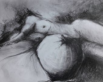 Woman with fruit graphite drawing