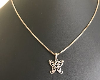 The Butterfly and The Star Vintage Sterling Butterfly and Star Pendant and Sterling Silver Box Chain Necklace