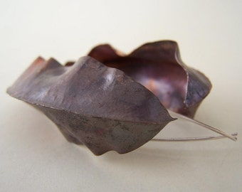 Fold formed Large Leaves Earrings - Canna Indica