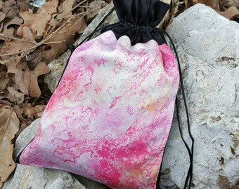 Abstract Pink Purse - Drawstring Pouch - Pink Purse - Fuchsia Drawstring Bag - Tarot Bag - Lingerie Bag - Pink Booty Bag - Soft Pink Handbag