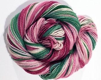 Handspun SW BFL Yarn - Heavy Fingering Weight, 290 yards - pink, rose, green, white