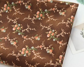 Cotton Fabric Mini Rose Brown By The Yard