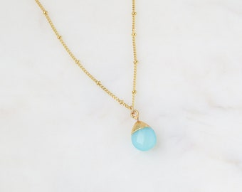 Blue Chalcedony Necklace | Aqua Necklace | Beach Wedding | Wedding Jewelry | Boho Necklace | Bridesmaids Gift | Boho Necklace | Gift for Her