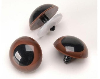 Brown Animal Craft Eyes with Washers - 15-24mm - 25 Pairs - Stuffed Animals Doll Eyes fnt