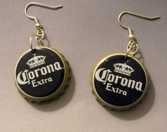 Recycled Beer Bottle Cap Earrings Corona Extra