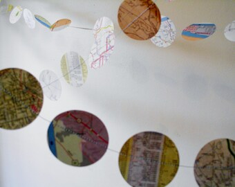 """Paper Garland vintage map  2"""" circle paper garland custom wedding decoration, upcyled party decor, vintage shower decoration, map garland"""