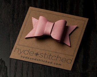 """Pretty Pink Leather Hair Bow Clip, One 2.5"""" Handcrafted Leather Bow, Hair Accessory"""