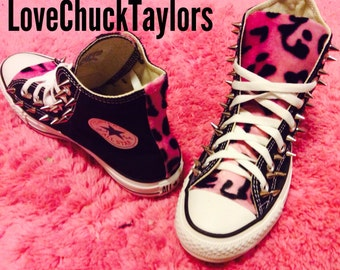Pink Leopard Converse Shoes Spiked