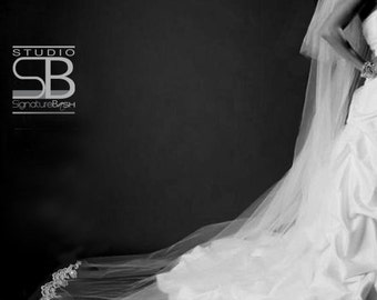 2 Tiers Cathedral Length - Ivory, Diamond White or White Wedding Veil