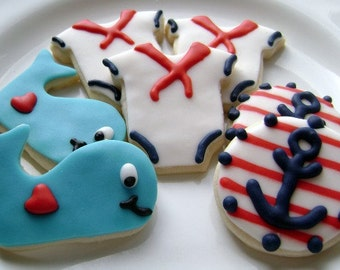 Mini Nautical Baby Shower Cookies - Anchor, Whale, Sailor Suit - Red and Navy Blue - 2 1/2 Dozen Mini Cookies