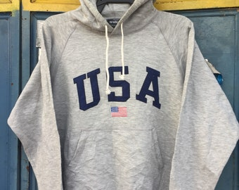 Vintage 90's USA flag embroided made in japan medium 65cotton 35 polyester hoody size M streetwear hiphop rappers