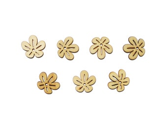Set of 7 wooden - 5 petals flower embellishments