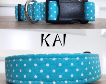 Kai | Light Blue Polka Dot Handmade Collar