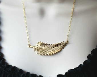 Leaf necklace, fern pendant, nature jewelry, gift for her, large pendant, fern necklace, womens gift, gold fern pendant