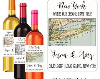 Wedding Map Wine Labels Personalized Labels Custom Wedding Stickers  Vintage Map Labels Long Island New York State City Towns Labels