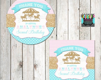 GOLDEN CAROUSEL HORSE favor tags - you print