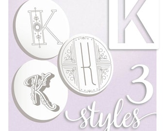 Modern Monograms Letter K hand embroidery patterns in three styles Alphabet Letter embroidery designs by SeptemberHouse