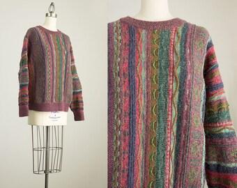 90s Vintage Norm Thompson Multicolor Wool Sweater / Size Medium