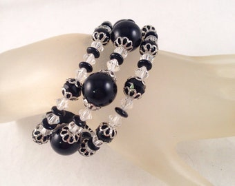 Black and White Silver Crystal Wrap bracelet Wraps Around Three Times and Fits All Sizes One of a Kind Previously 30 Dollars ON SALE