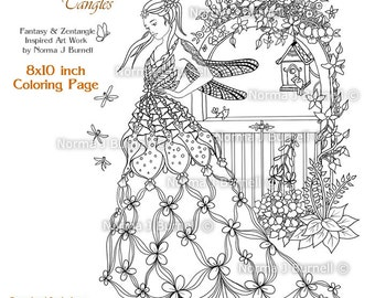The Fairy's Gate Dragonfly Garden Fairy Printable Coloring books pages & sheets by Norma Burnell Fairies to color Digital and Adult Coloring