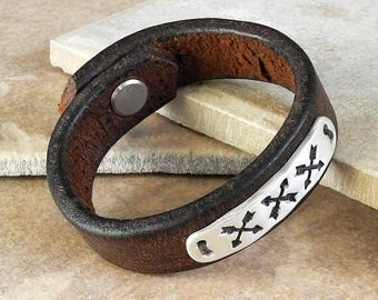 Sterling Silver and Leather Cuff Bracelet - Native American Symbol - Sterling Crossed Arrows - Friendship Bracelet - Roca Jewelry Designs