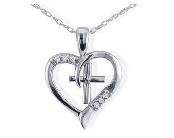 10k White Gold OR Yellow Gold .03ct Diamond Cross in Heart Pendant