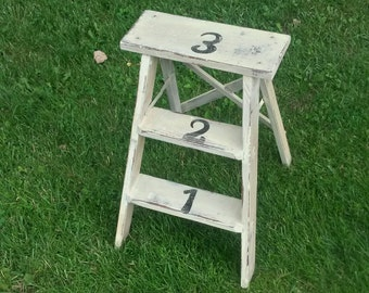 Painters stool, Vintage Numbered Step Stool/distressed/Any Color