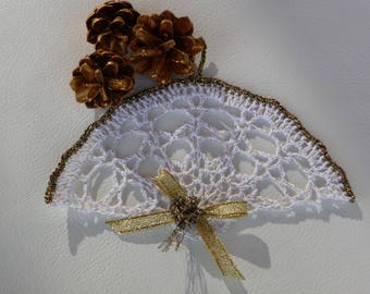 Small for Christmas decoration crochet doily handmade cotton white and gold