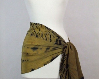 Long Scarf Silk Crepe Hand Dyed Shibori Gold Ombre Black Ancient Relic Collection Ready to Ship