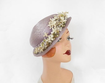 Lavender vintage hat, 1940s  boater tilt, flowers, Mr. Frank, excellent