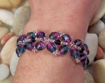 Diamond Link Bracelet Pattern, Beading Tutorial in PDF
