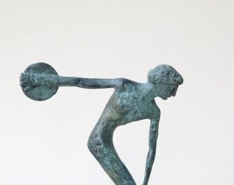 Discus Thrower, Bronze Greek Athlete Statue, Ancient Greece Olympic Games, Disc Thrower, Metal Art Sculpture, Art Decor, Museum Quality Art