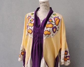 Embroidery Dress, Vintage Embroidery, Linen Dress, Purple and Yellow Floral Dress, Vintage Embroidery Linen size 16 / 18 EU size 46/48