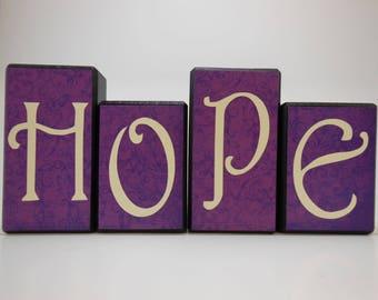 Hope Wood Block Set with Purple Background