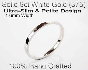 9ct 375 Solid White Gold Ring Wedding Engagement Friendship Friend Flat Band 1.6mm
