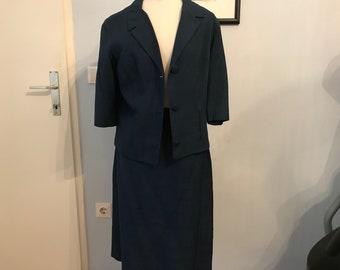 Vintage dress pure silk 1950 navy blue
