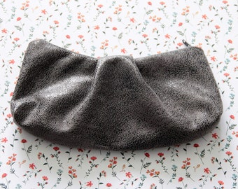 Antique metal gray faux leather pleated pouch