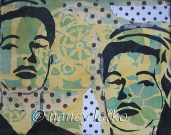 twins - 9 x 11 ORIGINAL MIXED MEDIA by Nancy Lefko