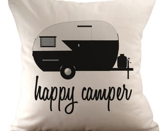 Happy Camper - Cushion Cover - 18x18 - Choose your fabric and font colour