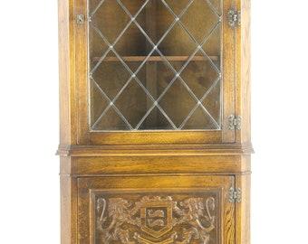 Antique Corner Cabinet, Entryway Organizer, Antique Furniture, Scotland 1950, B1090