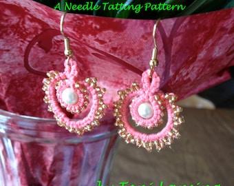 Immediate Download - Needle Tatting Pattern - Pearls and Swirls Tatted Earrings