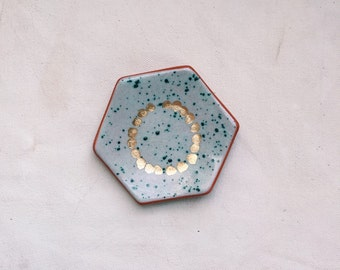 speckled turqoise hexagon ring dish with gold
