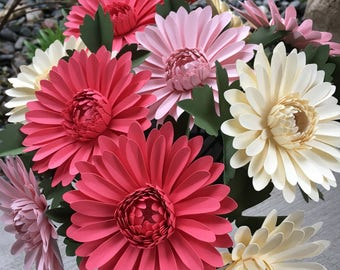 Pink, paper daisy, unique, one of a kind, paper flower, hand made, bridal, wedding flowers