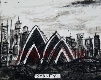 Sydney Cityscape: Art Print of the Sydney Skyline featuring the Sydney Opera House, 11X14