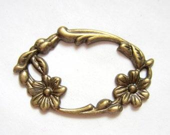 6 Brass filigree findings art nouveau flower antique bronze finish 28mm x 45mm KK0044