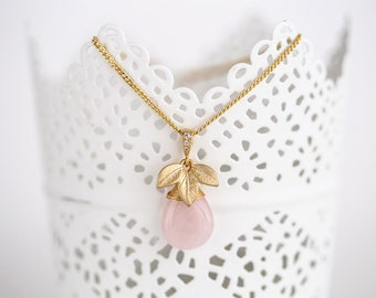 Leaves necklace Rose quartz necklace Leaf necklace Teadrop necklace Gold jewelry necklace Floral necklace Pendant necklace Pink necklace 755