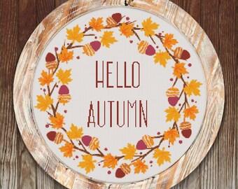 Hello Autumn Modern Cross Stitch Pattern Wreath // Instant PDF Download