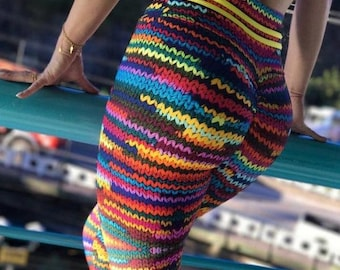 Colorful Knit String Leggings, Knitted Leggings, Fashion Leggings, Colorful Leggings
