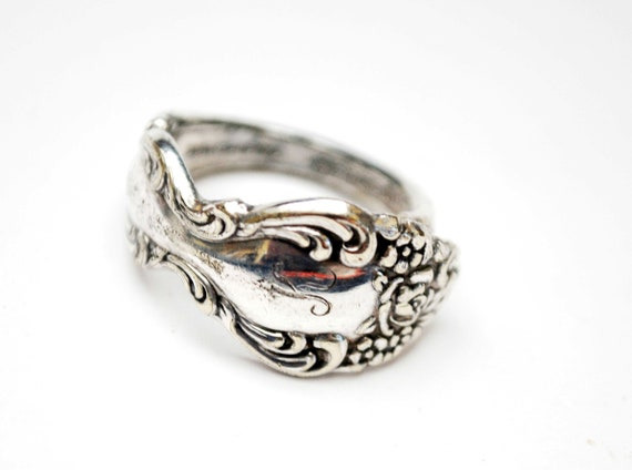 Spoon Ring  Silver plated 1881  Rodgers Oneida Barogue Rose size 7 1/2 cuff ring