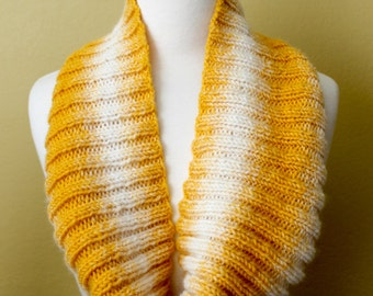 Knitted Infinity Scarf Neckwarmer. Mustard. Cowl.